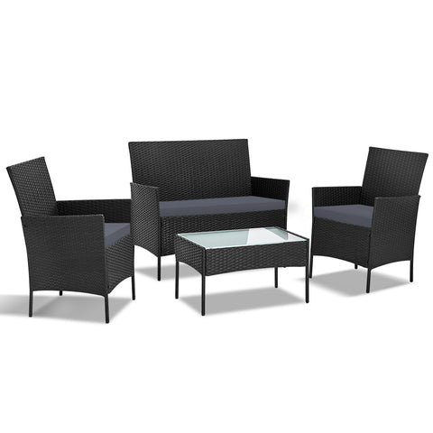 Image of Gardeon 4-piece Wicker Outdoor Set - Black