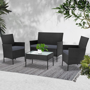 Gardeon 4-piece Wicker Outdoor Set - Black