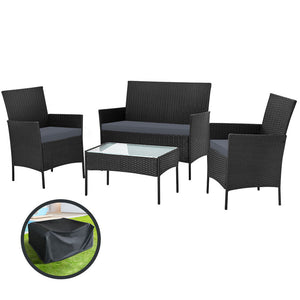 Gardeon Garden Furniture Outdoor Lounge Setting Wicker Sofa Patio Storage Cover Black
