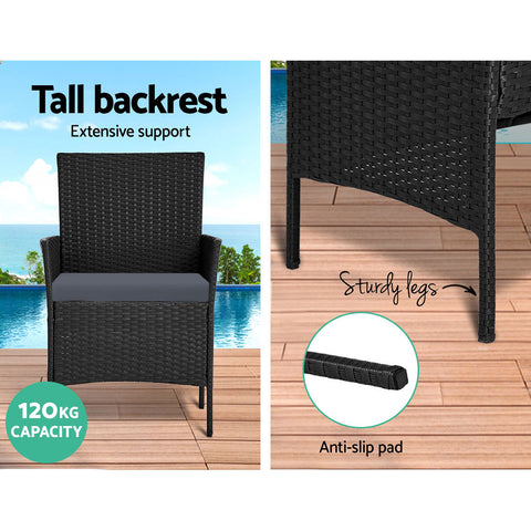 Image of Gardeon Garden Furniture Outdoor Lounge Setting Wicker Sofa Patio Storage Cover Black