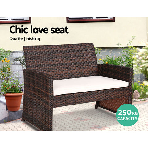 Gardeon Garden Furniture Outdoor Lounge Setting Wicker Sofa Set Storage Cover Brown