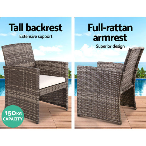 Image of Gardeon Set of 4 Outdoor Rattan Chairs & Table - Grey