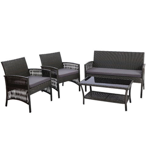 Image of Gardeon Outdoor Furniture Rattan Set Wicker Cushion 4pc Dark Grey