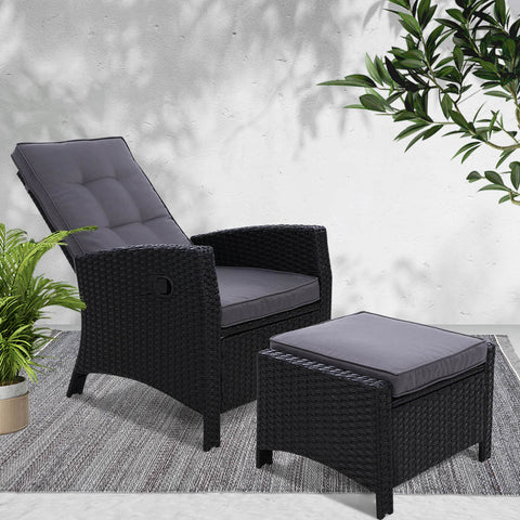 Sun lounge Recliner Chair Wicker Lounger Sofa Day Bed Outdoor Furniture Patio Garden Cushion Ottoman Black Gardeon