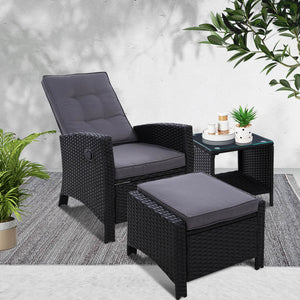 Gardeon Outdoor Setting Recliner Chair Table Set Wicker lounge Patio Furniture Black