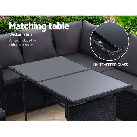 Gardeon Outdoor Furniture Dining Setting Sofa Set Lounge Wicker 9 Seater Black