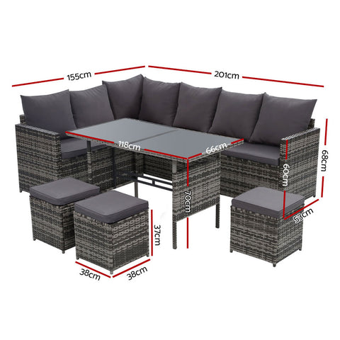 Image of Gardeon Outdoor Furniture Dining Setting Sofa Set Lounge Wicker 9 Seater Mixed Grey