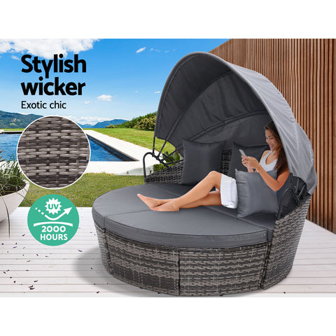 Image of Gardeon Outdoor Lounge Setting Patio Furniture Sofa Wicker Garden Rattan Set Day Bed Grey
