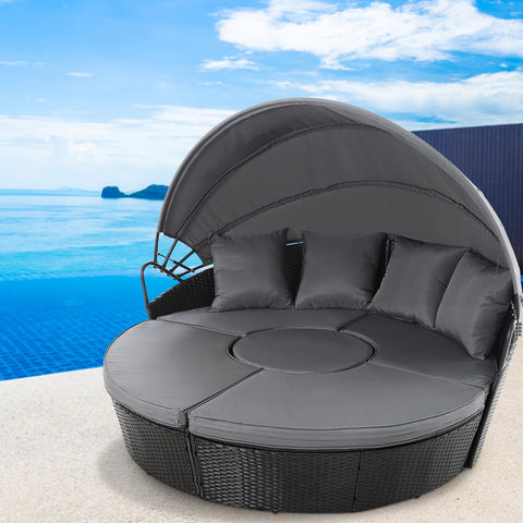 Gardeon Outdoor Lounge Setting Sofa Patio Furniture Wicker Garden Rattan Set Day Bed Black