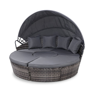 Gardeon Outdoor Lounge Setting Sofa Patio Furniture Wicker Garden Rattan Set Day Bed Grey