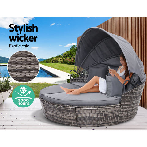 Image of Gardeon Outdoor Lounge Setting Sofa Patio Furniture Wicker Garden Rattan Set Day Bed Grey