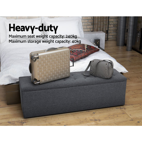 Image of Artiss Storage Ottoman Blanket Box Grey LARGE Fabric Rest Chest Toy Foot Stool