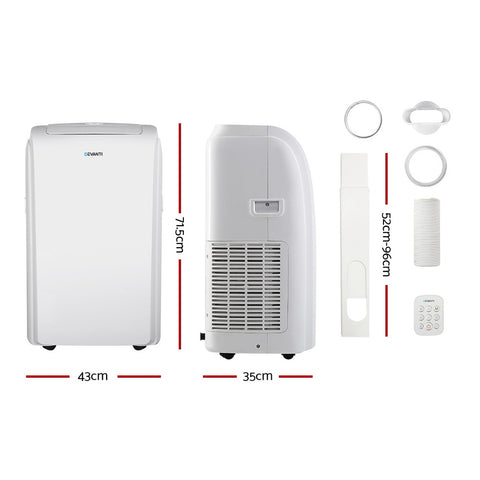 Image of Devanti Portable Air Conditioner Cooling Mobile Fan Cooler Remote Window Kit White 3300W