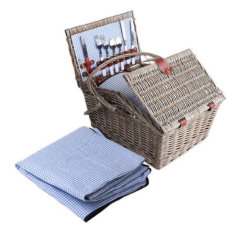 Image of Alfresco Deluxe 4 Person Picnic Basket Baskets Outdoor Insulated Blanket