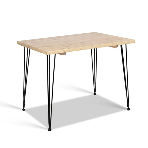 Artiss Dining Table 4 Seater 100 x 65cm Pine Wood Industrial Scandinavian Timber Metal Black Legs Brown Rectangular Tables