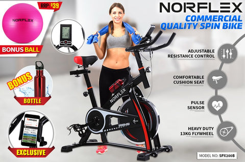 Image of Norflex Spin Bike Exercise Ball Flywheel Fitness Commercial Home Workout Gym