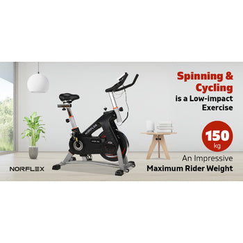 Image of Spin Bike Flywheel NORFLEX Commercial Gym Exercise Home Workout Bike Fitness Silver