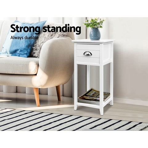 Image of Artiss Bedside Table Nightstand Drawer Storage Cabinet Lamp Side Shelf White