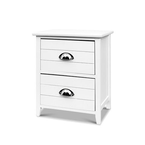Image of Artiss 2x Bedside Table Nightstands 2 Drawers Storage Cabinet Bedroom Side White