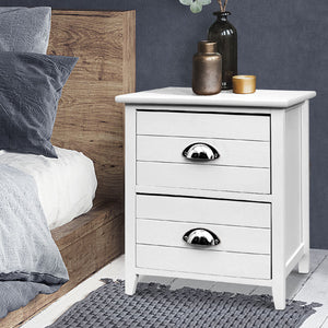 Artiss 2x Bedside Table Nightstands 2 Drawers Storage Cabinet Bedroom Side White