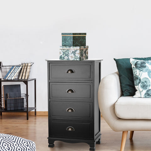 Image of Artiss Vintage Bedside Table Chest 4 Drawers Storage Cabinet Nightstand Black