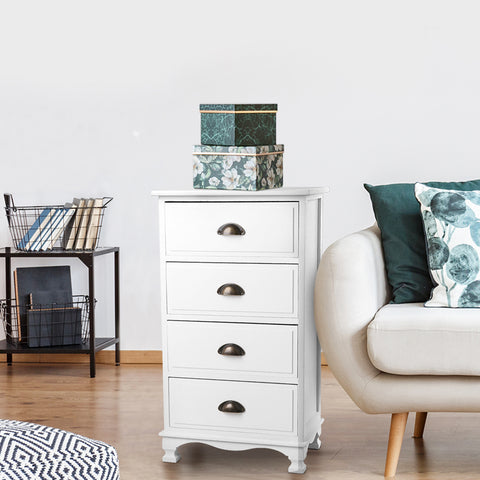 Image of Artiss Vintage Bedside Table Chest 4 Drawers Storage Cabinet Nightstand White