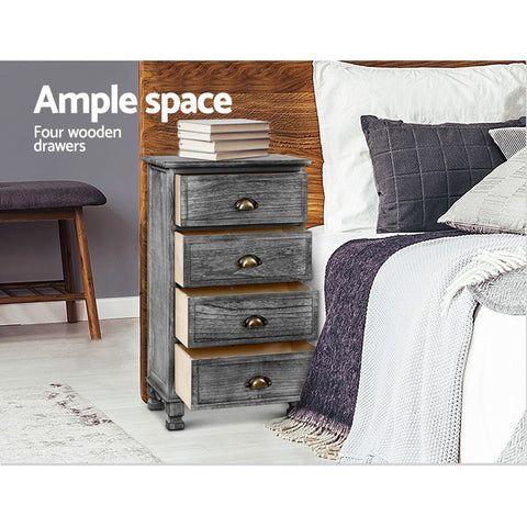 Image of Artiss Bedside Tables Drawers Cabinet Vintage 4 Chest of Drawers Grey Nightstand