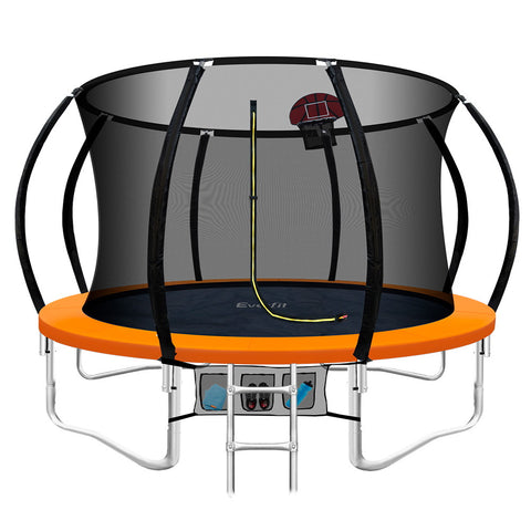 Image of Everfit 10FT Trampoline Round Trampolines Kids Enclosure Safety Net Pad Outdoor Orange