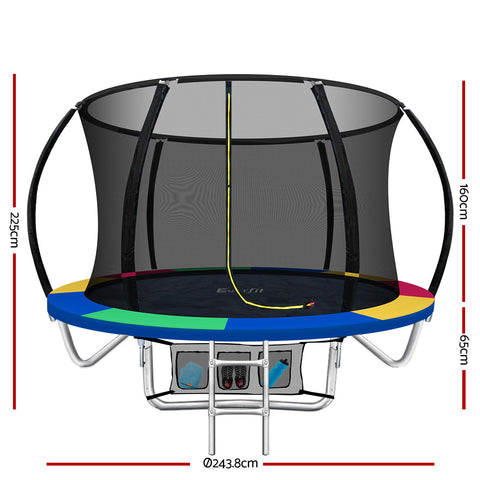 Image of Everfit 8FT Trampoline Round Trampolines Kids Enclosure Safety Net Pad Outdoor Multi-coloured