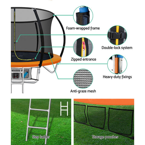 Image of Everfit 8FT Trampoline Australia Round Trampolines Kids Enclosure Safety Net Pad Outdoor Orange