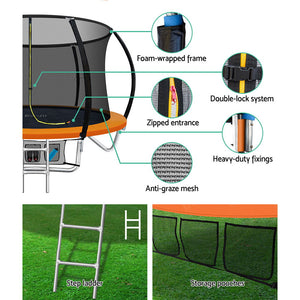 Everfit 8FT Trampoline Australia Round Trampolines Kids Enclosure Safety Net Pad Outdoor Orange