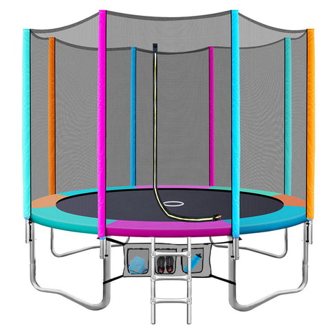 Everfit 10FT Trampoline Round Trampolines Kids Enclosure Safety Net Pad Outdoor Multi-coloured Flat