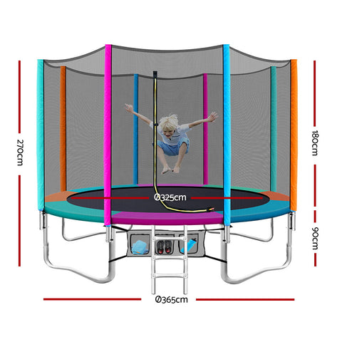 Image of Everfit 12FT Trampoline Round Trampolines Kids Enclosure Safety Net Pad Outdoor Multi-coloured Flat
