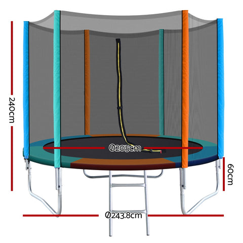 Image of Everfit 8FT Trampoline Round for Kids Enclosure Safety Net Pad Outdoor Multi-coloured Flat