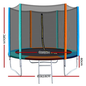 Everfit 8FT Trampoline Round for Kids Enclosure Safety Net Pad Outdoor Multi-coloured Flat