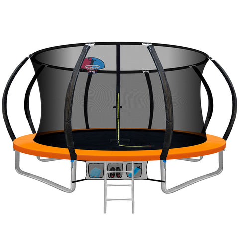 Image of Everfit 12FT Trampoline Round Trampolines With Basketball Hoop Kids Present Gift Enclosure Safety Net Pad Outdoor Orange