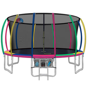 Everfit 16FT Trampoline Round Trampolines With Basketball Hoop Kids Present Gift Enclosure Safety Net Pad Outdoor Multi-coloured