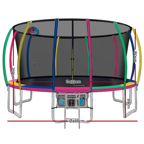 Image of Everfit 16FT Trampoline Round Trampolines With Basketball Hoop Kids Present Gift Enclosure Safety Net Pad Outdoor Multi-coloured