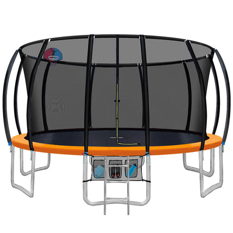 Image of Everfit 16FT Trampoline Round Trampolines With Basketball Hoop Kids Present Gift Enclosure Safety Net Pad Outdoor Orange