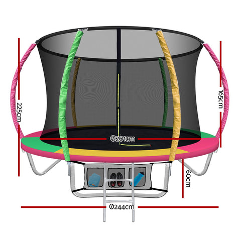 Image of Everfit 8FT Trampoline Round Trampolines Kids Present Gift Enclosure Safety Net Pad Outdoor Multi-coloured