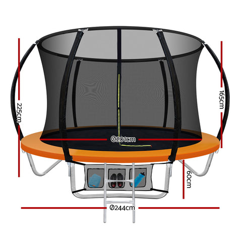 Image of Everfit 8FT Trampoline Round Trampolines Kids Present Gift Enclosure Safety Net Pad Outdoor Orange