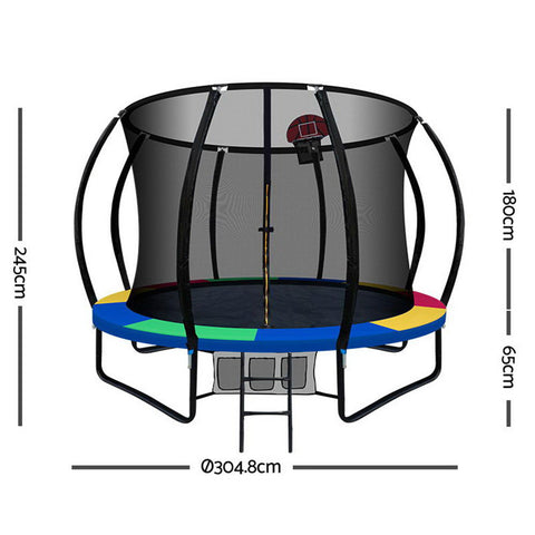 Image of Everfit 10FT Trampoline With Basketball Hoop - Rainbow