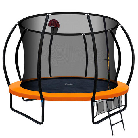 Image of Everfit 10FT Trampoline With Basketball Hoop - Orange