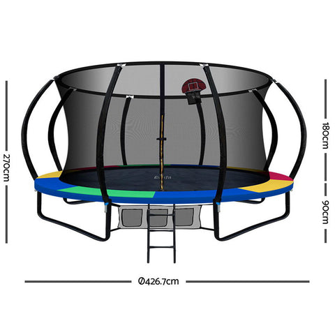 Image of Everfit 14FT Trampoline With Basketball Hoop - Rainbow