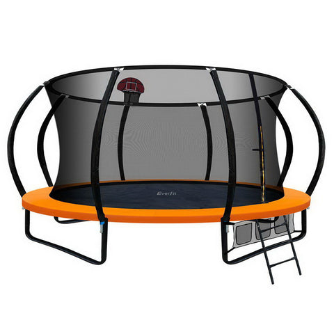 Image of Everfit 14FT Trampoline With Basketball Hoop - Orange