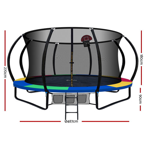 Everfit 16FT Trampoline With Basketball Hoop Rainbow