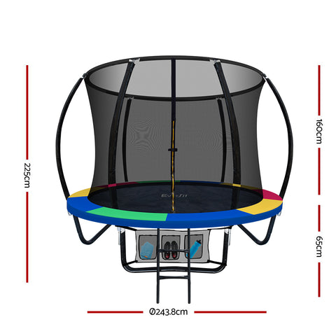 Image of Everfit 8FT Trampoline Round - Rainbow