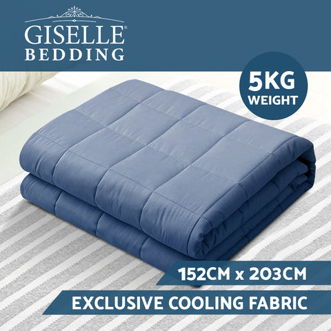 Image of Giselle Weighted Blanket Adult 5KG Gravity Blankets Deep Relax Summer Cooling Blue