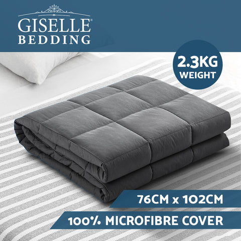 Image of Weighted Blanket Kids 2.3KG Heavy Gravity Blankets Microfibre Cover Comfort Calming Deep Relax Better Sleep Grey