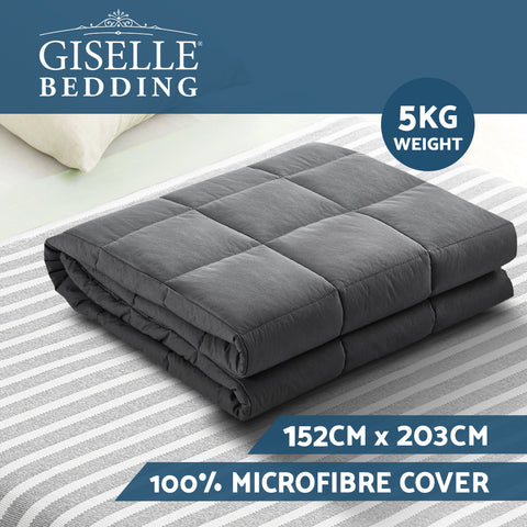 Image of Weighted Blanket Adult 5KG Heavy Gravity Blankets Microfibre Cover Calming Relax Anxiety Relief Grey